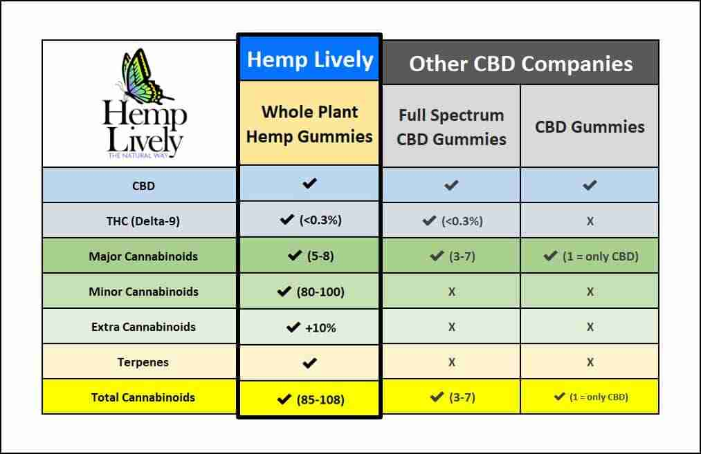 3D CBD Product Comparison Chart Whole Plant Hemp Gummies 1013x657 1