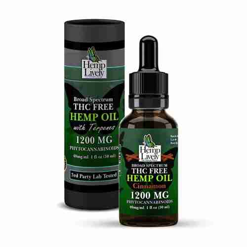 Hemp Lively Broad Spectrum T FREE Hemp Oil Cinnamon 1200mg Phytocannabinoids 30ml 40mg per ml with Tube