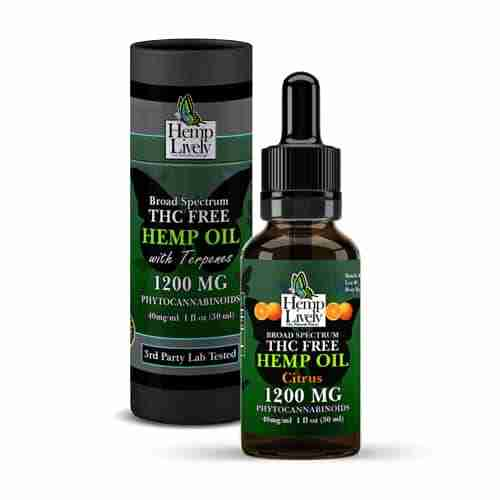 Hemp Lively Broad Spectrum T FREE Hemp Oil Citrus 1200mg Phytocannabinoids 30ml 40mg per ml with Tube
