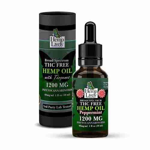 Hemp Lively Broad Spectrum T FREE Hemp Oil Peppermint 1200mg Phytocannabinoids 30ml 40mg per ml with Tube