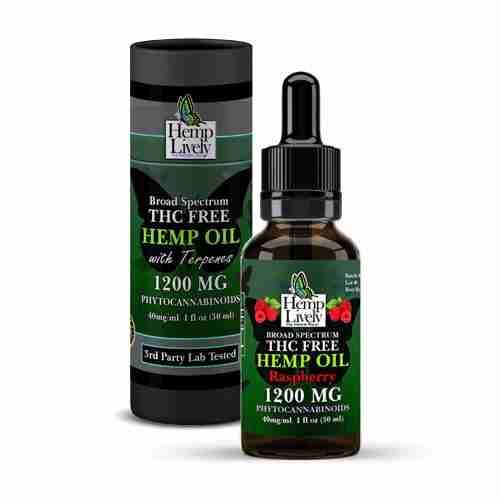 Hemp Lively Broad Spectrum T FREE Hemp Oil Raspberry 1200mg Phytocannabinoids 30ml 40mg per ml with Tube
