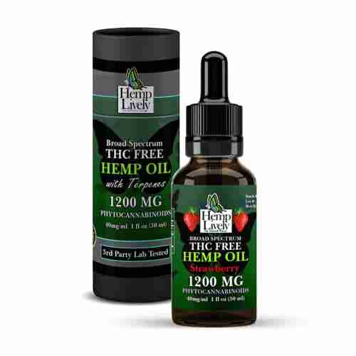 Hemp Lively Broad Spectrum T FREE Hemp Oil Strawberry 1200mg Phytocannabinoids 30ml 40mg per ml with Tube