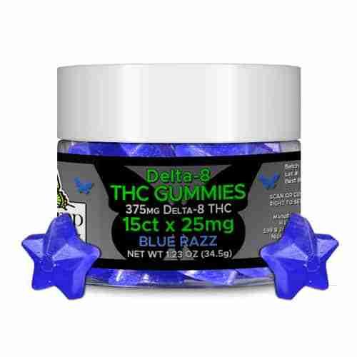 Hemp Lively Delta 8 THC Gummies Blue Razz 25mg 15ct