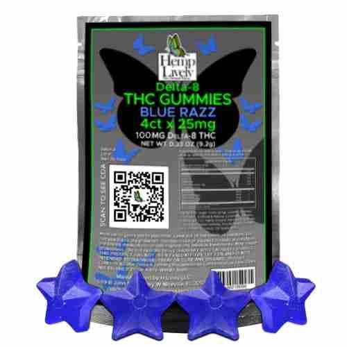 Hemp Lively Delta 8 THC Gummies Blue Razz 25mg 4ct 1