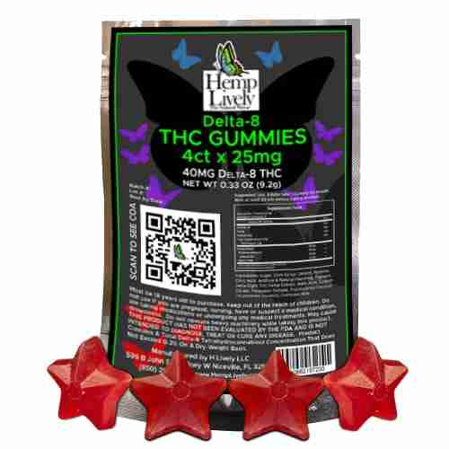 Hemp Lively Delta 8 THC Gummies Stars 4ct x 25mg 1
