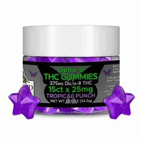 Hemp Lively Delta 8 THC Gummies Tropical Punch 25mg 15ct Purple