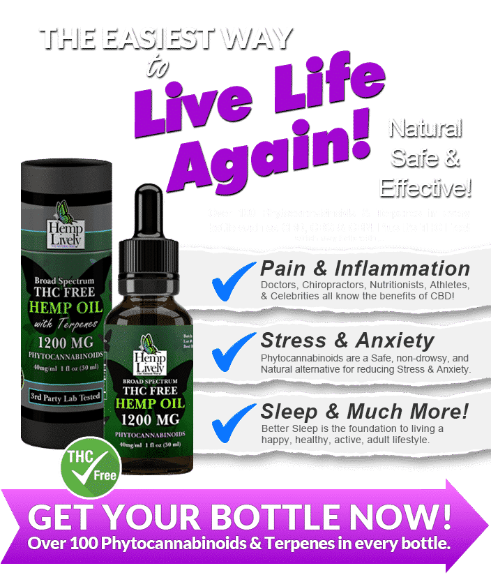 Hemp Lively Live Life Again with Broad Spectrum THC Free Hemp Oil reduce pain inflammation stress anxiety MOBILE
