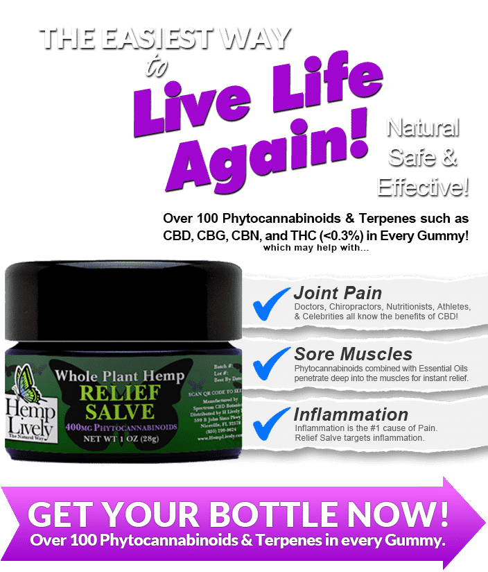 Hemp Lively Live Life Again with Whole Plant Hemp Relief Salve