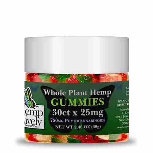 Hemp Lively Whole Plant Hemp Gummies 30ct x 25mg 750mg Phytocannabinoids