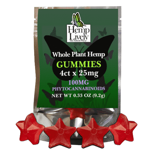 Hemp Lively Whole Plant Hemp Gummies 4ct x 25mg