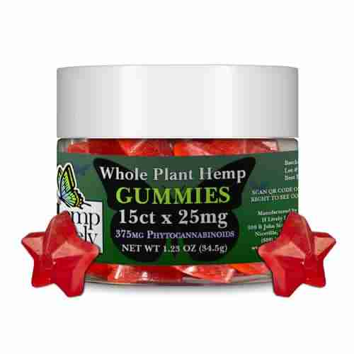 Hemp Lively Whole Plant Hemp Gummies Stars 15ct x 25mg 375mg Phytocannabinoids