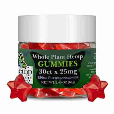 Hemp Lively Whole Plant Hemp Gummies Stars 30ct x 25mg 750mg Phytocannabinoids