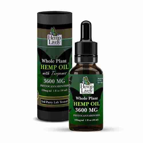 Hemp Lively Whole Plant Hemp Oil 3600mg Phytocannabinoids 30ml 120mg per ml with Tube
