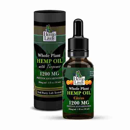 Hemp Lively Whole Plant Hemp Oil Citrus 1200mg Phytocannabinoids 30ml 40mg per ml with Tube