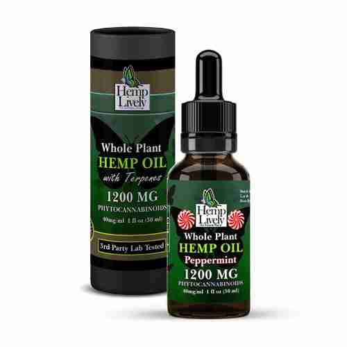 Hemp Lively Whole Plant Hemp Oil Peppermint 1200mg Phytocannabinoids 30ml 40mg per ml with Tube