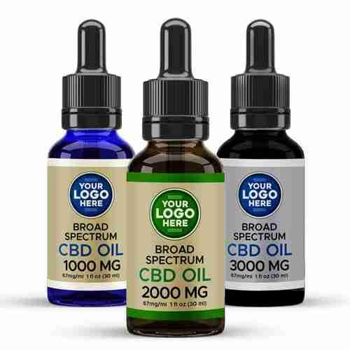 Private Label Broad Spectrum CBD Tinctures Amber Blue Black Bottles