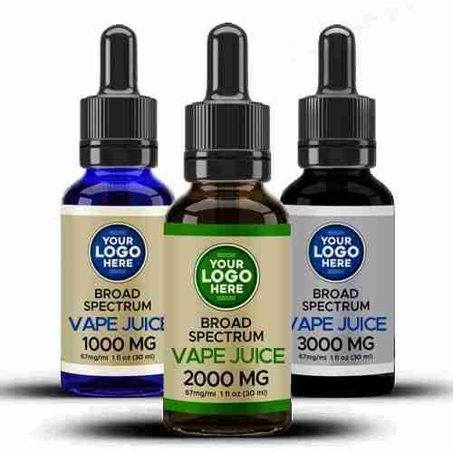Private Label Broad Spectrum CBD Vape Juice Amber Blue Black Bottles