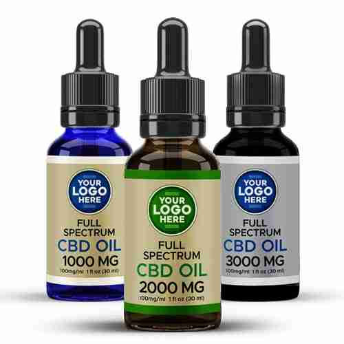 Private Label Full Spectrum CBD Tinctures Amber Blue Black Bottles