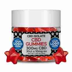 Private Label ISOLATE CBD Gummies 30ct JAR 10mg CBD per Gummy