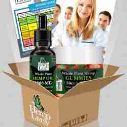 What you get with your order of Whole Plant Hemp Oil and Gummies Sampler Pack