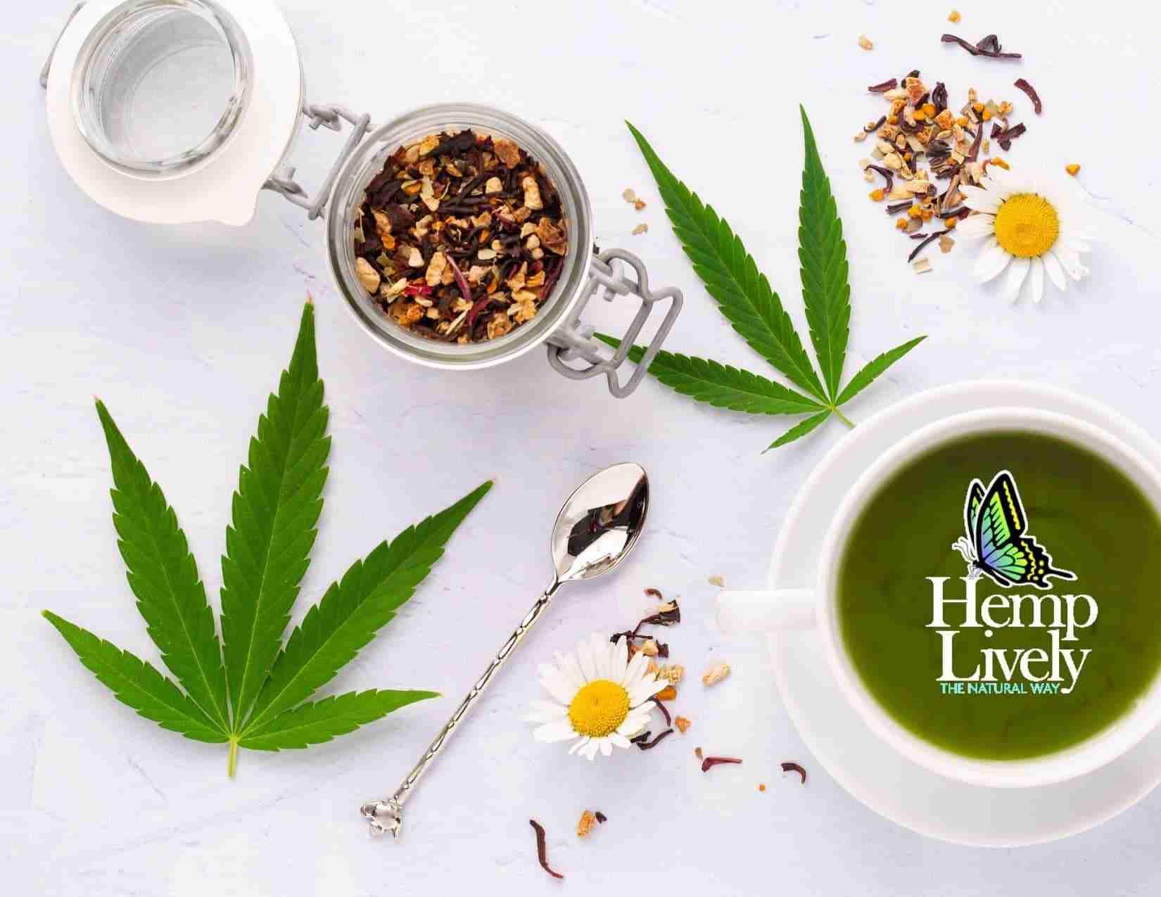 hemp oil tea flatlay